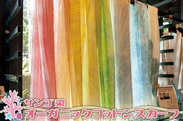 沖縄県北中城村(きたなかぐすくそん)「ふるさと納税」お礼品に『【サンゴ染オーガニックコットンスカーフ】ご注文後お染めいたします』を新たに追加いたしました画像
