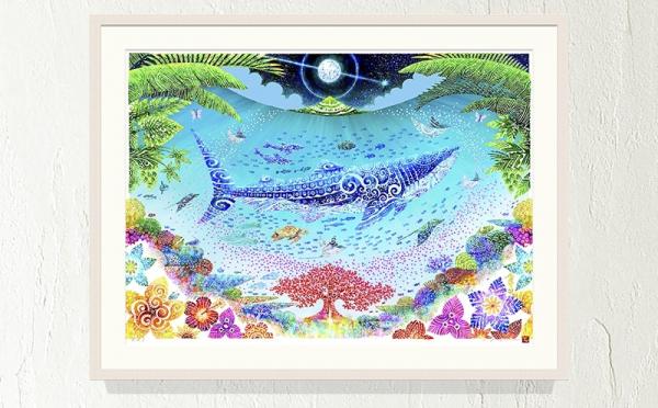 沖縄県沖縄市(おきなわし)「ふるさと納税」お礼品に『【琉球イラストレーション】与儀勝之・額装『海の星~満月の夜』1枚』を新たに追加いたしました画像